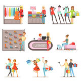 People shopping and buying clothes and shoes set, clothing store interior colorful vector Illustrations isolated Royalty Free Stock Images