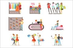 People shopping and buying clothes and shoes set, clothing store interior colorful vector Illustrations isolated. On white background royalty free illustration