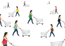 People with shopping cart Stock Photos