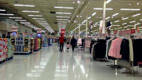 People with shopping cart Walking shopping inside superstore. stock footage