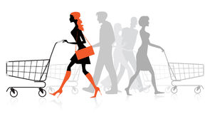 People with shopping charts. Silhouettes of people with shopping charts Royalty Free Stock Photos
