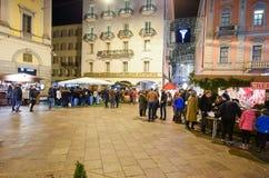 People shopping on the christmas market of Lugano, Switzerland Stock Image