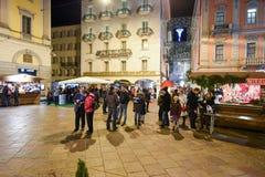 People shopping on the christmas market of Lugano, Switzerland Stock Photography