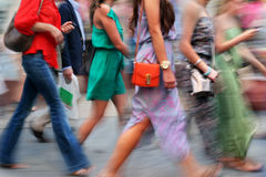 People shopping in the city. In motion blur Stock Photography