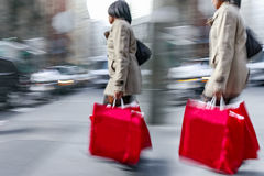 People shopping in the city Royalty Free Stock Photos