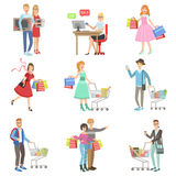 People Shopping For Clothes And Grocery Stock Images