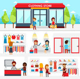 People shopping in the clothing store. Shop Interior. Colorful vector illustration design, infographic elements, banners stock illustration