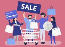 People shopping with a credit card royalty free illustration