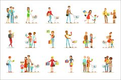 People Shopping In Department Store And Shopping Mall Set Of Cartoon Characters Buying Products And Objects In The Shop Stock Photos