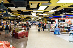 People Shopping In Duty Free Store Of Vienna International Airport Royalty Free Stock Images