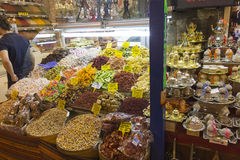 People shopping at the famous spice market in Eminonu Stock Photo