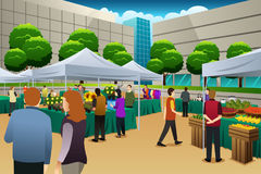 People Shopping in Farmers Market. A vector illustration of People Shopping in Farmers Market Royalty Free Stock Image