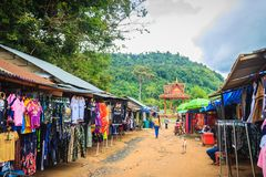 People are shopping in flea market Chong Arn Ma, Thai-Cambodia border crossing (called the An Ses border crossing in Cambodia) to. Preah Vihear, Cambodia royalty free stock images