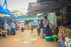 People are shopping in flea market Chong Arn Ma, Thai-Cambodia border crossing (called the An Ses border crossing in Cambodia) to. Preah Vihear, Cambodia stock image
