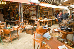 People shopping at the flea market of Clignancourt at Paris Stock Image