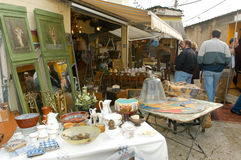 People shopping at the flea market of Clignancourt at Paris Royalty Free Stock Images