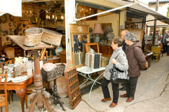 People shopping at the flea market of Clignancourt at Paris Stock Images