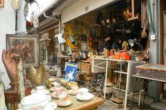People shopping at the flea market of Clignancourt at Paris Royalty Free Stock Photo