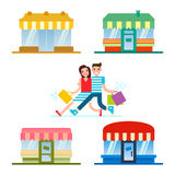 People shopping in a front of the set of the shops restaurants and stores facade. Couple shopping. Flat design Stock Images