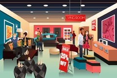 People shopping in a furniture store. A vector illustration of people shopping in a furniture store Stock Photography