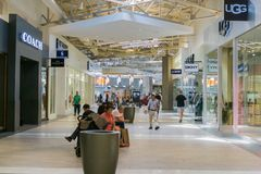 People shopping at the Great Mall, Milpitas. Milpitas / CA / USA - People shopping at the Great Mall, San Francisco bay area stock photography