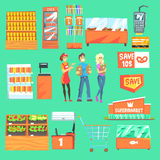 People Shopping For Groceries In Supermarket Surrounded By Shop Attributes Set Of Illustrations. Vector Collection In Geometric Simplified Cartoon Style With vector illustration