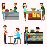 People Shopping Grocery Cliparts. A vector illustration of People Shopping Grocery Cliparts Stock Photo