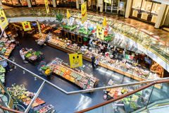 People Shopping For Grocery Food In Supermarket Store Aisle Stock Photo