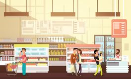 People shopping in grocery store. Supermarket retail interior with customers flat vector illustration stock illustration