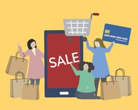 People with shopping icons illustration Royalty Free Illustration