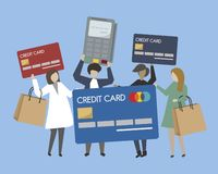 People with shopping icons illustration stock illustration