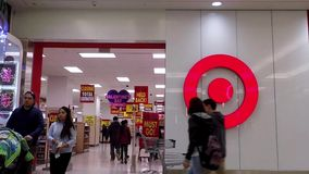 People shopping inside Target store stock video footage