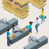 People At The Shopping Line Illustration Stock Photo