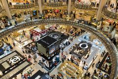 People shopping in luxury Lafayette department store of Paris, France Royalty Free Stock Image