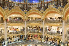 People shopping in luxury Lafayette galeries of Paris, France Stock Photos
