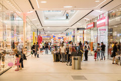 People Shopping In Luxury Shopping Mall Interior Royalty Free Stock Image