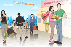 People in Shopping Mall. Easy to edit vector illustration of people in shopping mall vector illustration