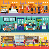 People shopping in a mall concept. Consumer electronics store Interior. Colorful vector illustration. Customers buy products in food supermarket stock illustration