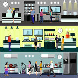 People shopping in a mall concept. Consumer electronics store Interior. Colorful vector illustration. Design elements and banners in flat style. Laptop, TV vector illustration