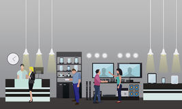 People shopping in a mall. Consumer electronics store Interior. Vector illustration. Design elements and banners flat Royalty Free Stock Photo