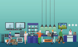 People shopping in a mall. Consumer electronics store Interior vector illustration. Design elements and banners in flat style royalty free illustration