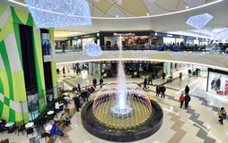 People in the shopping mall Crystal in Tyumen, Russia Stock Images