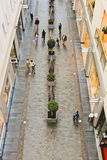People shopping in a mall. Riga, Latvia - September 23. Customers are walking and shopping at Galerija Centrs located in the Old Town in Riga, Latvia Royalty Free Stock Photos