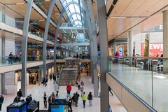 People in shopping mall Europassag in Hamburg Royalty Free Stock Photo