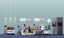 People shopping in a mall. Poster concept. Consumer electronics store Interior. Colorful vector illustration. Royalty Free Stock Photo
