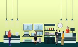 People shopping in a mall. Poster concept. Consumer electronics store Interior. Colorful vector illustration. Design elements and banners in flat style vector illustration