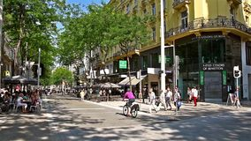 People Shopping On Mariahilferstrasse In Vienna. VIENNA, AUSTRIA - AUGUST 08, 2015: People Shopping On Mariahilferstrasse The Largest And One Of The Most Popular stock video footage