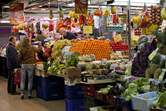 People shopping in market near La Rambla royalty free stock photos
