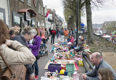 People shopping on the market on queensday Royalty Free Stock Image