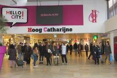 Modern shopping mall Hoog Catharijne,Utrecht,Netherlands. People are shopping in modern indoor shopping centre Hoog Catharijne in the city centre of Utrecht Stock Photos